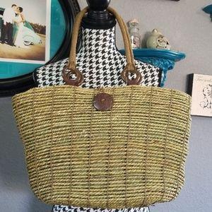 NWT Braided Straw Tote Bag